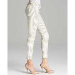 PAIGE Verdugo Ankle Skinny Pant with Tan and White